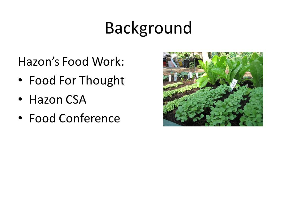 Background Hazons Food Work: Food For Thought Hazon CSA Food Conference