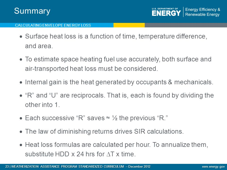23 | WEATHERIZATION ASSISTANCE PROGRAM STANDARDIZED CURRICULUM – December 2012 eere.energy.gov Surface heat loss is a function of time, temperature difference, and area.