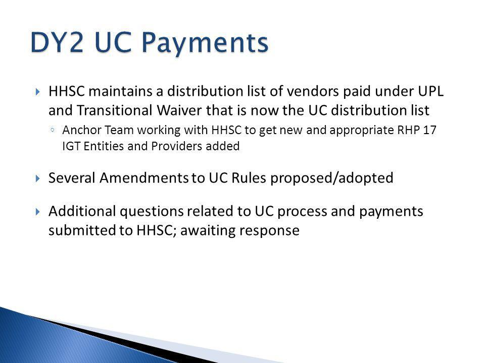 HHSC maintains a distribution list of vendors paid under UPL and Transitional Waiver that is now the UC distribution list Anchor Team working with HHSC to get new and appropriate RHP 17 IGT Entities and Providers added Several Amendments to UC Rules proposed/adopted Additional questions related to UC process and payments submitted to HHSC; awaiting response