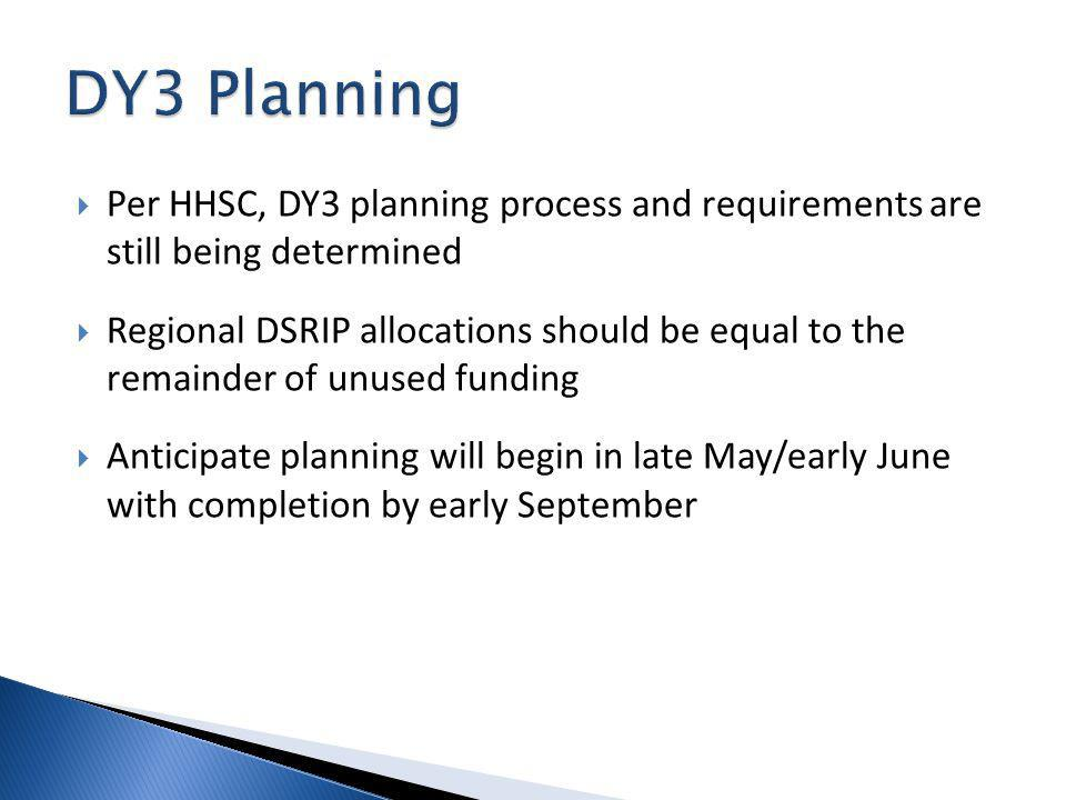 Per HHSC, DY3 planning process and requirements are still being determined Regional DSRIP allocations should be equal to the remainder of unused funding Anticipate planning will begin in late May/early June with completion by early September