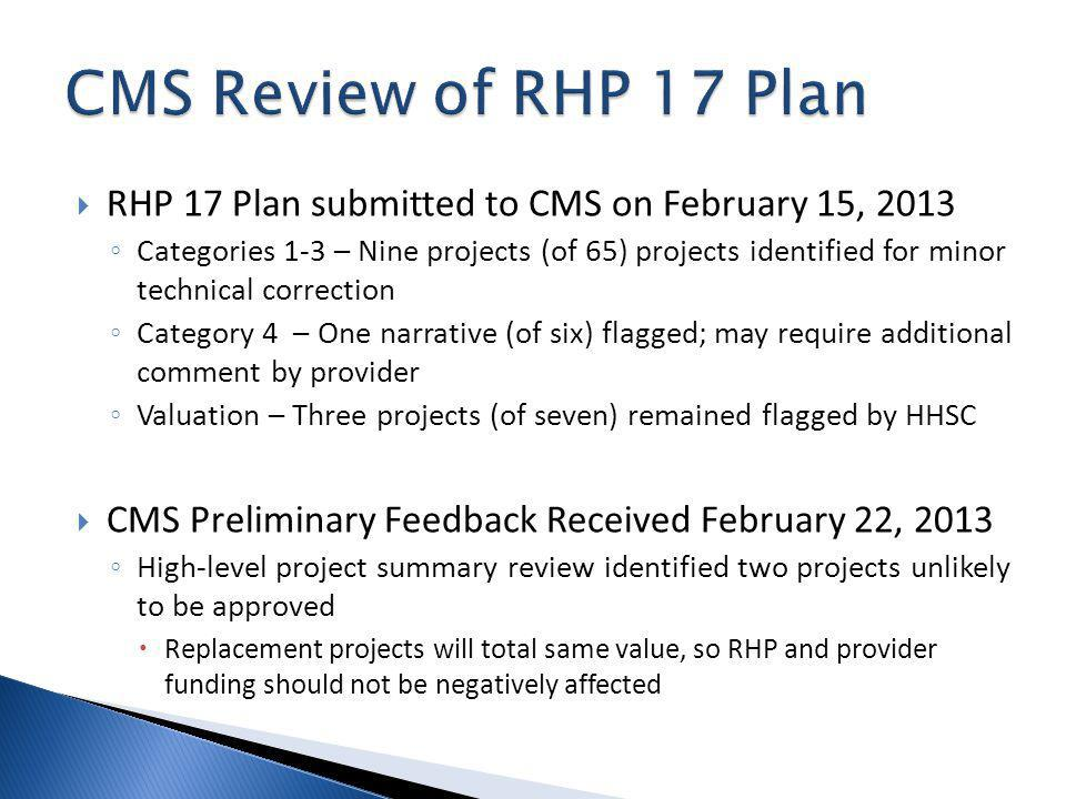 RHP 17 Plan submitted to CMS on February 15, 2013 Categories 1-3 – Nine projects (of 65) projects identified for minor technical correction Category 4 – One narrative (of six) flagged; may require additional comment by provider Valuation – Three projects (of seven) remained flagged by HHSC CMS Preliminary Feedback Received February 22, 2013 High-level project summary review identified two projects unlikely to be approved Replacement projects will total same value, so RHP and provider funding should not be negatively affected