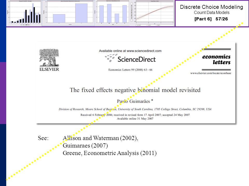 [Part 6] 57/26 Discrete Choice Modeling Count Data Models See: Allison and Waterman (2002), Guimaraes (2007) Greene, Econometric Analysis (2011)