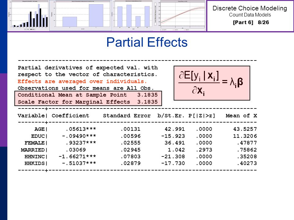 [Part 6] 8/26 Discrete Choice Modeling Count Data Models Partial Effects ---------------------------------------------------------------------- Partial derivatives of expected val.