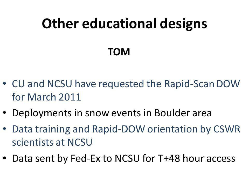 Other educational designs TOM CU and NCSU have requested the Rapid-Scan DOW for March 2011 Deployments in snow events in Boulder area Data training and Rapid-DOW orientation by CSWR scientists at NCSU Data sent by Fed-Ex to NCSU for T+48 hour access