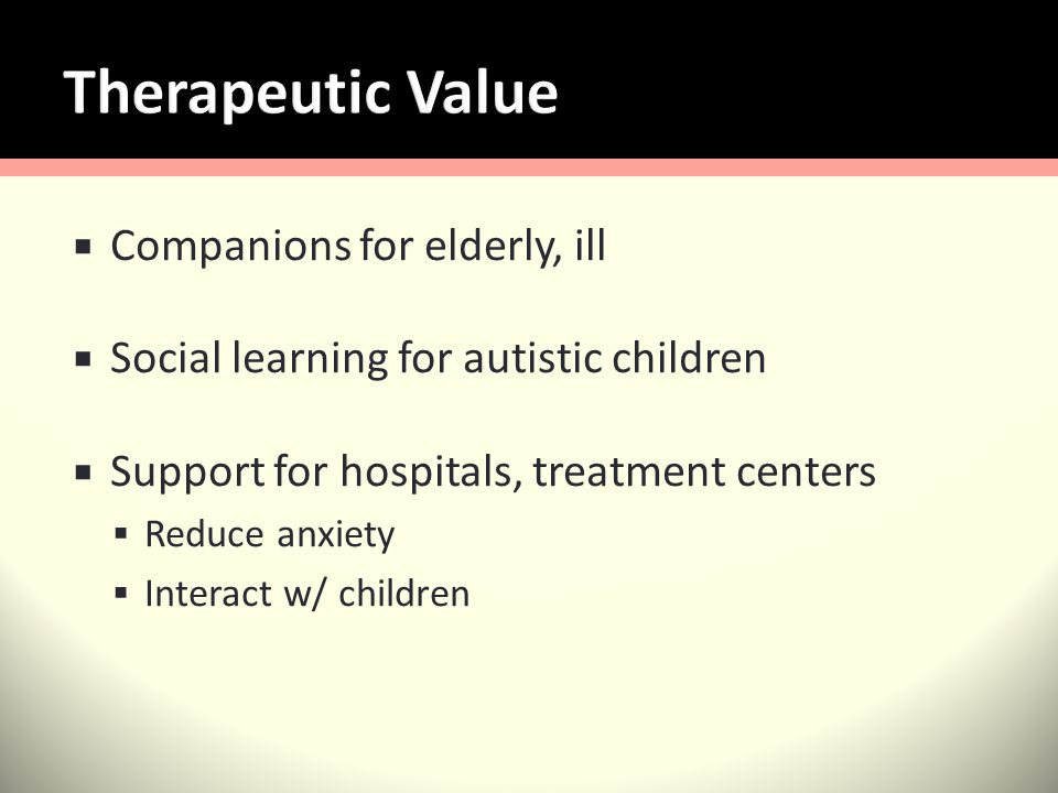 Companions for elderly, ill Social learning for autistic children Support for hospitals, treatment centers Reduce anxiety Interact w/ children