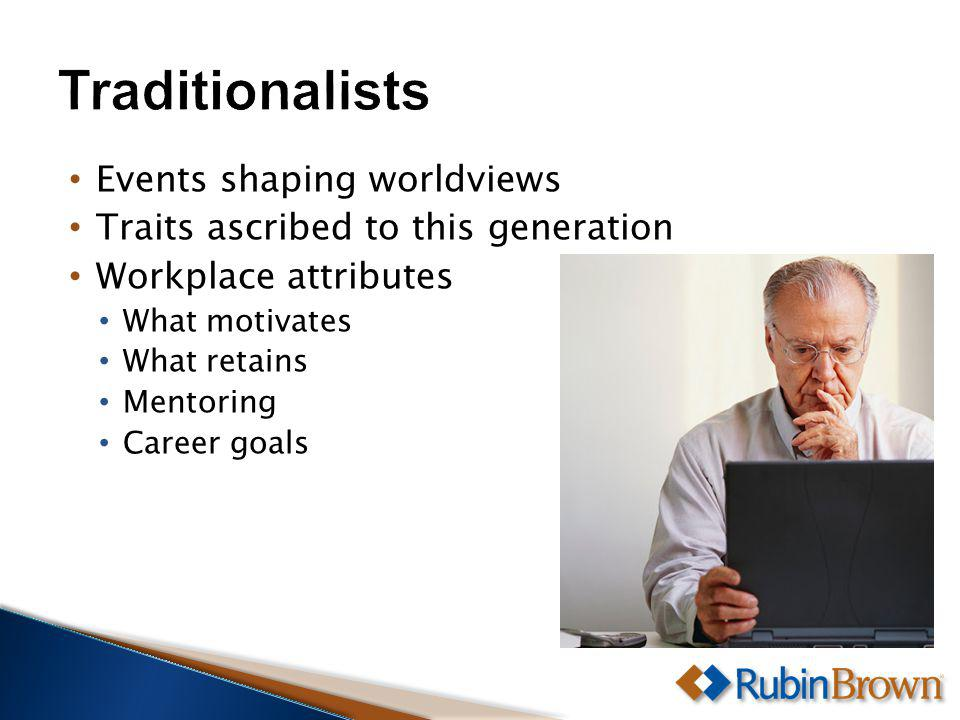Events shaping worldviews Traits ascribed to this generation Workplace attributes What motivates What retains Mentoring Career goals