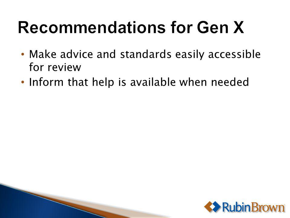 Make advice and standards easily accessible for review Inform that help is available when needed