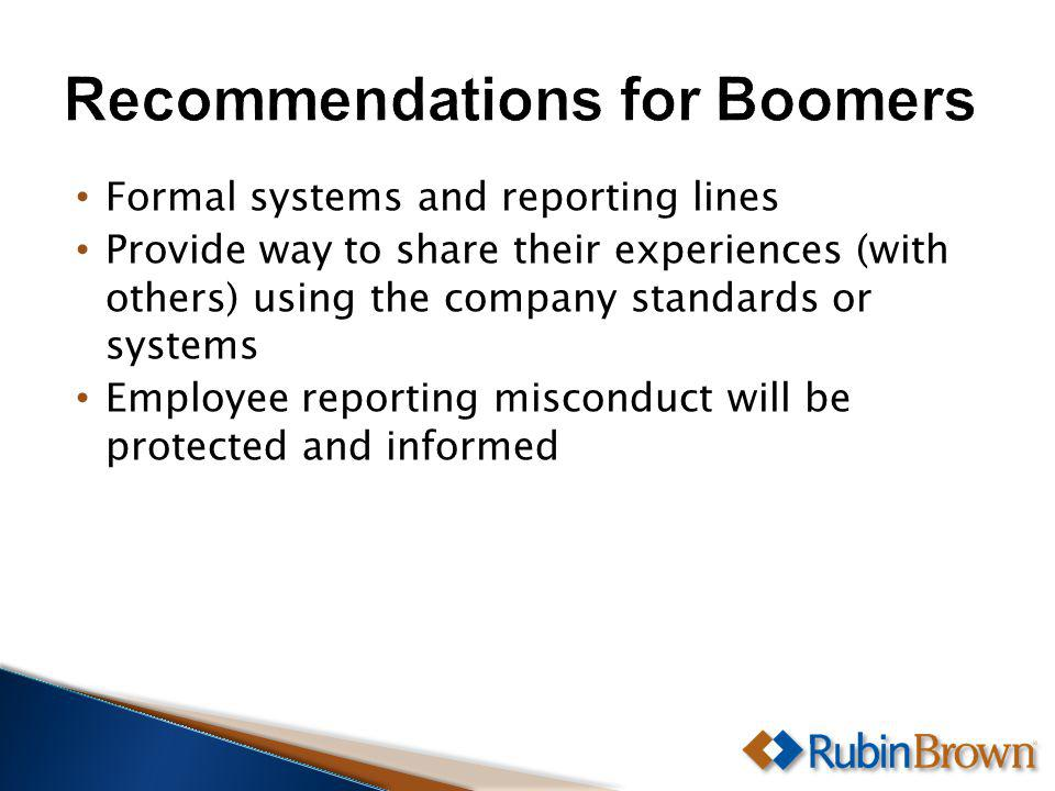 Formal systems and reporting lines Provide way to share their experiences (with others) using the company standards or systems Employee reporting misconduct will be protected and informed