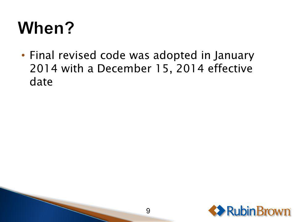Final revised code was adopted in January 2014 with a December 15, 2014 effective date 9