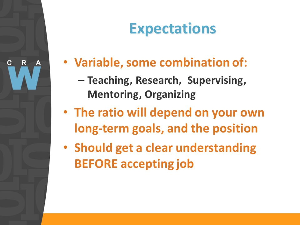 Expectations Variable, some combination of: – Teaching, Research, Supervising, Mentoring, Organizing The ratio will depend on your own long-term goals, and the position Should get a clear understanding BEFORE accepting job
