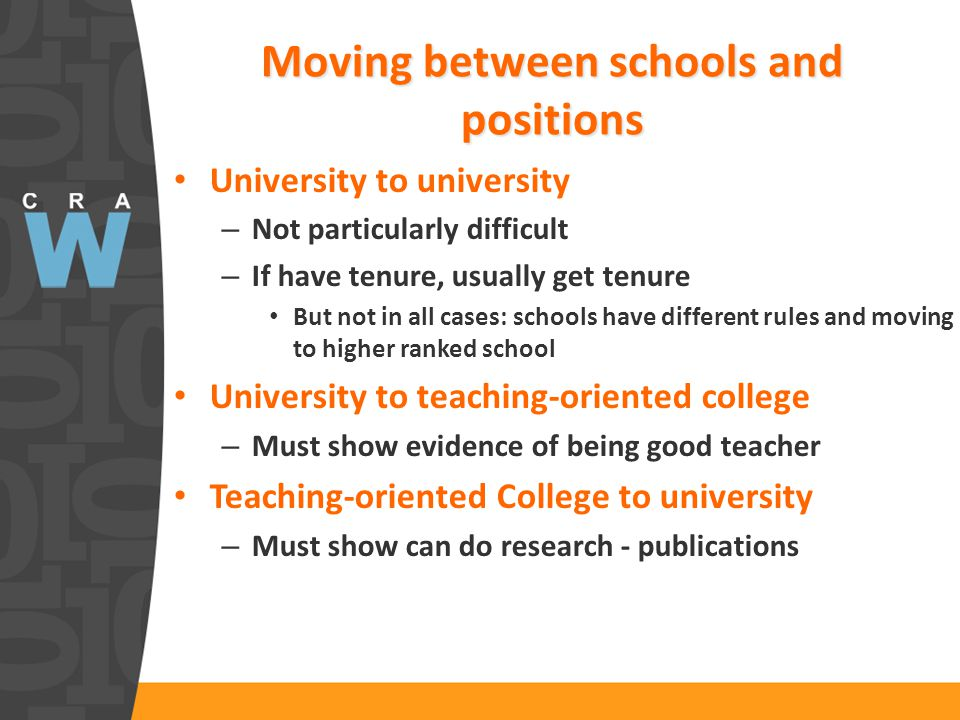 Moving between schools and positions University to university – Not particularly difficult – If have tenure, usually get tenure But not in all cases: schools have different rules and moving to higher ranked school University to teaching-oriented college – Must show evidence of being good teacher Teaching-oriented College to university – Must show can do research - publications