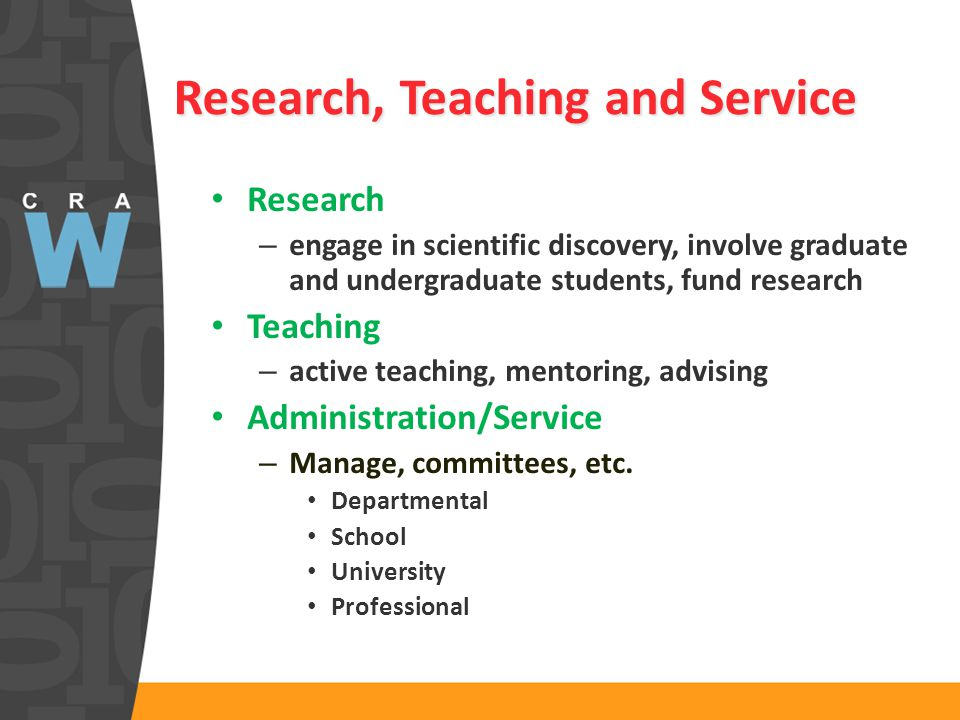 Research, Teaching and Service Research – engage in scientific discovery, involve graduate and undergraduate students, fund research Teaching – active teaching, mentoring, advising Administration/Service – Manage, committees, etc.