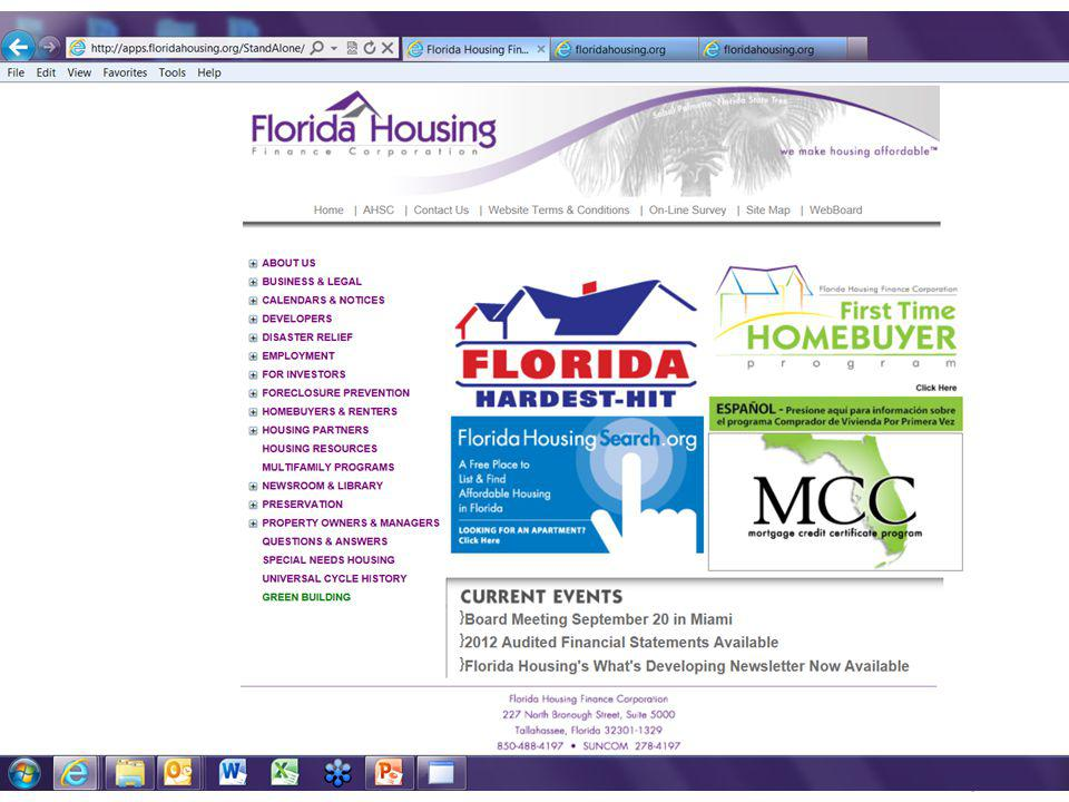 How to Access the Reservation System Go to www.floridahousing.org.www.floridahousing.org Click on the MCC box in center of the page.