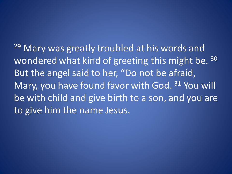 29 Mary was greatly troubled at his words and wondered what kind of greeting this might be.