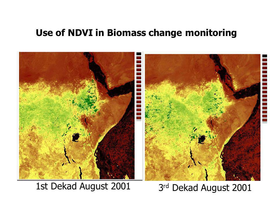 Use of NDVI in Biomass change monitoring 1st Dekad August 2001 3 rd Dekad August 2001