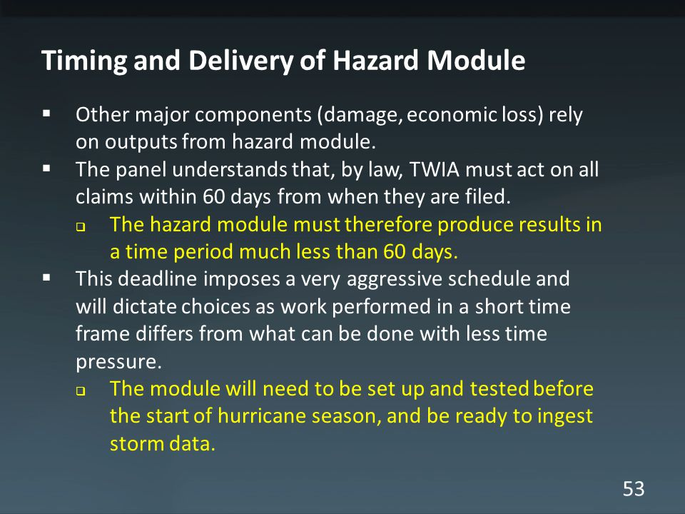 53 Timing and Delivery of Hazard Module Other major components (damage, economic loss) rely on outputs from hazard module.