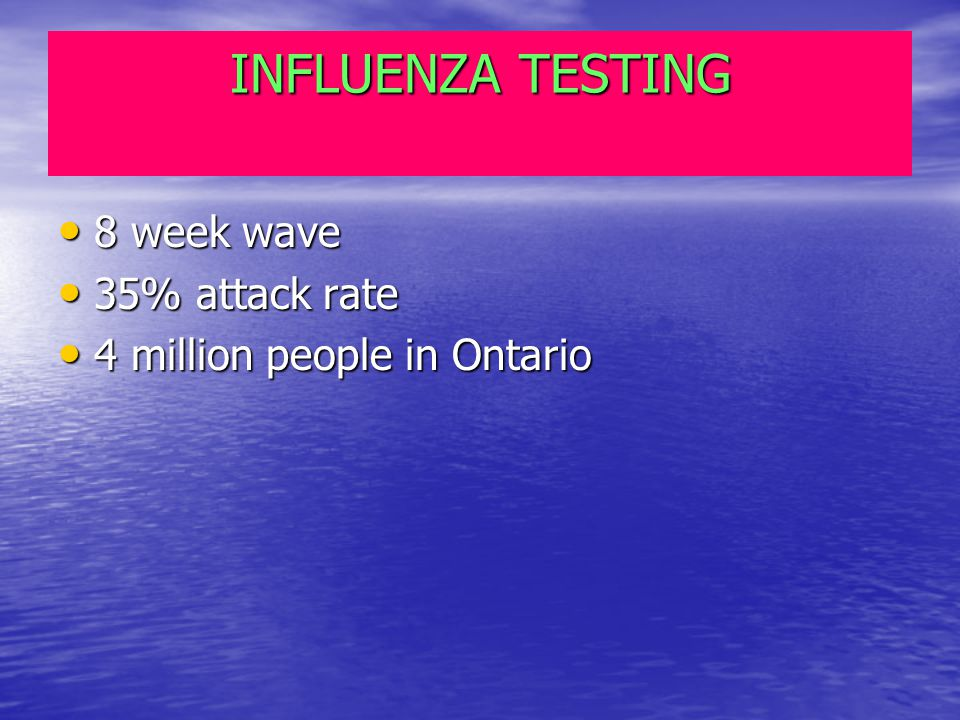INFLUENZA TESTING 8 week wave 8 week wave 35% attack rate 35% attack rate 4 million people in Ontario 4 million people in Ontario