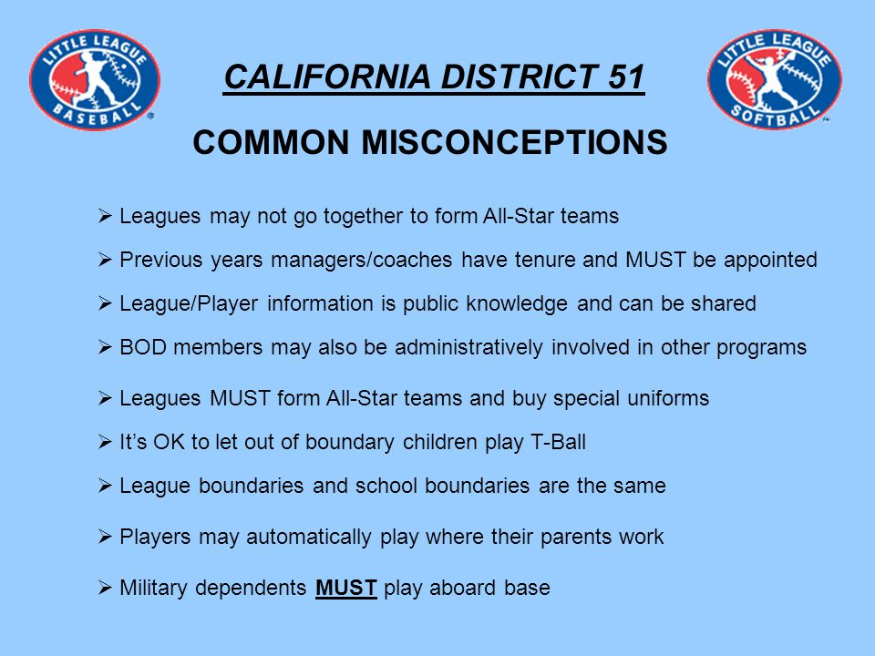 CALIFORNIA DISTRICT 51 COMMON MISCONCEPTIONS Leagues may not go together to form All-Star teams Previous years managers/coaches have tenure and MUST be appointed League/Player information is public knowledge and can be shared BOD members may also be administratively involved in other programs Leagues MUST form All-Star teams and buy special uniforms Its OK to let out of boundary children play T-Ball League boundaries and school boundaries are the same Players may automatically play where their parents work Military dependents MUST play aboard base