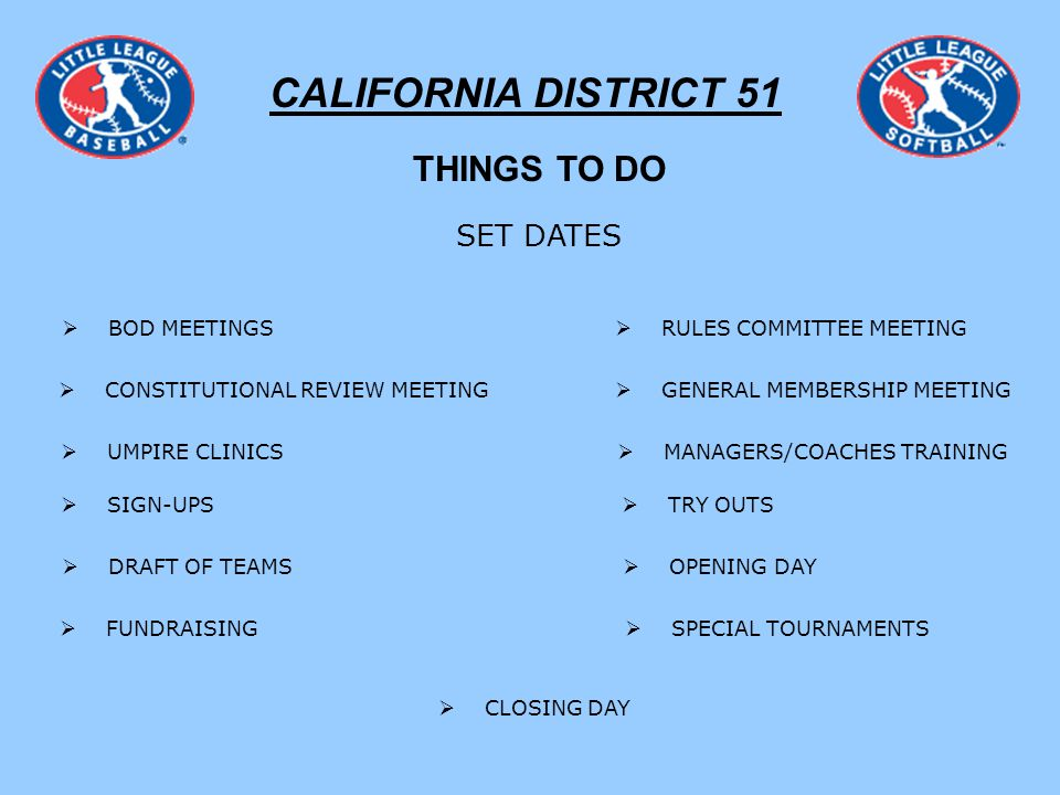 CALIFORNIA DISTRICT 51 THINGS TO DO SET DATES BOD MEETINGS RULES COMMITTEE MEETING CONSTITUTIONAL REVIEW MEETING GENERAL MEMBERSHIP MEETING SIGN-UPS TRY OUTS OPENING DAY DRAFT OF TEAMS UMPIRE CLINICS MANAGERS/COACHES TRAINING FUNDRAISING CLOSING DAY SPECIAL TOURNAMENTS