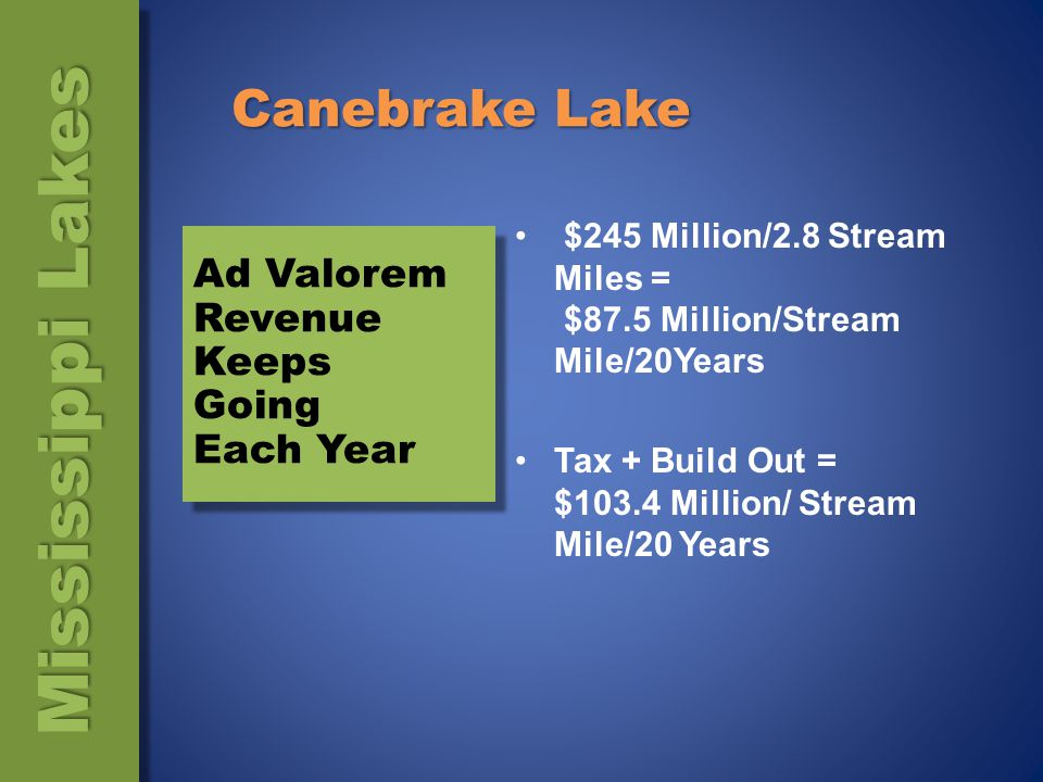 Canebrake Lake Canebrake Generates $2,225,117/yr In Ad Valorem Taxes, Public Dollars ( Schools and County Government Services) $2,225,117 / 2.8 stream miles = $794,684/mile/year In 20 Years = $15,893,692/mile 700 Unit Home Development At $350,000/home = $245 Million In Economic Activity (Continued) Mississippi Lakes