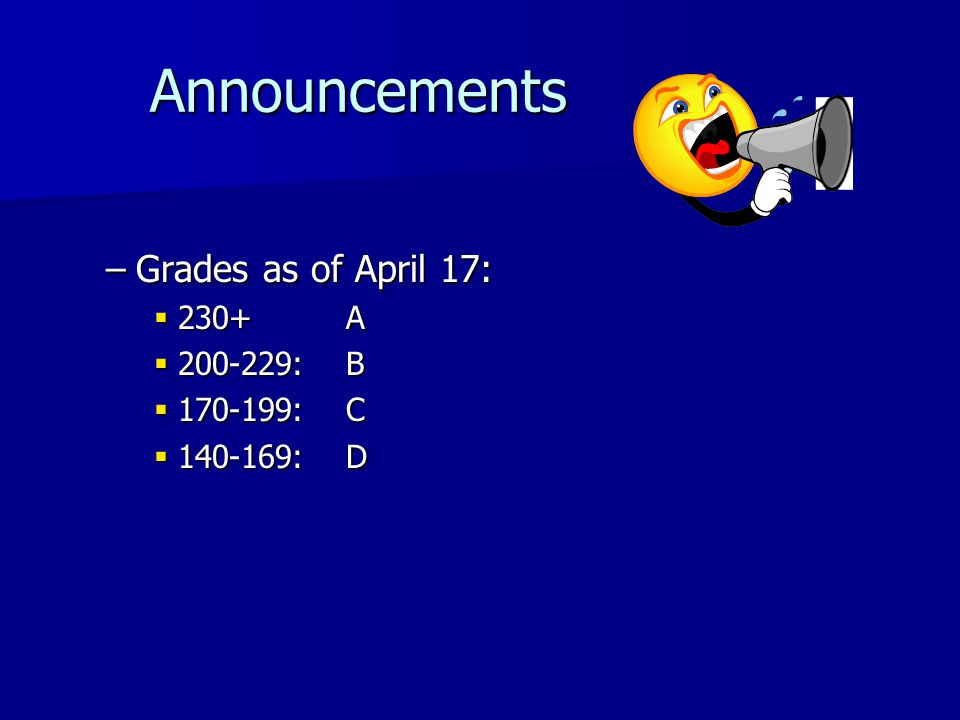 Announcements Announcements –Grades as of April 17: 230+A 230+A 200-229:B 200-229:B 170-199:C 170-199:C 140-169:D 140-169:D