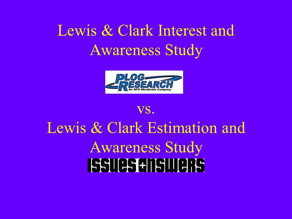 Lewis & Clark Interest and Awareness Study vs. Lewis & Clark Estimation and Awareness Study