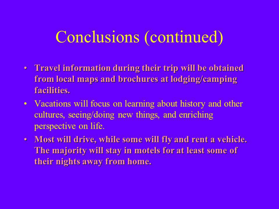 Conclusions (continued) Travel information during their trip will be obtained from local maps and brochures at lodging/camping facilities.Travel information during their trip will be obtained from local maps and brochures at lodging/camping facilities.