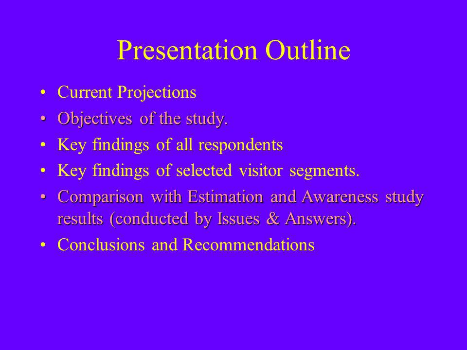Presentation Outline Current Projections Objectives of the study.Objectives of the study.