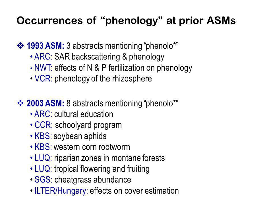 Occurrences of phenology at prior ASMs 1993 ASM: 3 abstracts mentioning phenolo* ARC: SAR backscattering & phenology NWT: effects of N & P fertilization on phenology VCR: phenology of the rhizosphere 2003 ASM: 8 abstracts mentioning phenolo* ARC: cultural education CCR: schoolyard program KBS: soybean aphids KBS: western corn rootworm LUQ: riparian zones in montane forests LUQ: tropical flowering and fruiting SGS: cheatgrass abundance ILTER/Hungary: effects on cover estimation