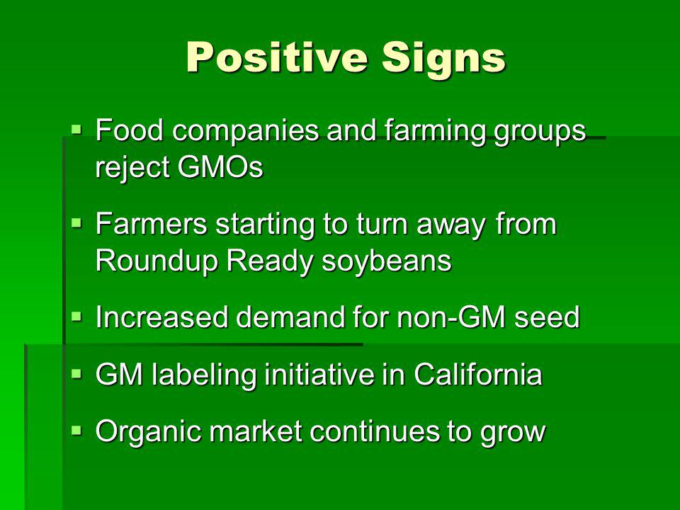 Positive Signs Food companies and farming groups reject GMOs Food companies and farming groups reject GMOs Farmers starting to turn away from Roundup Ready soybeans Farmers starting to turn away from Roundup Ready soybeans Increased demand for non-GM seed Increased demand for non-GM seed GM labeling initiative in California GM labeling initiative in California Organic market continues to grow Organic market continues to grow