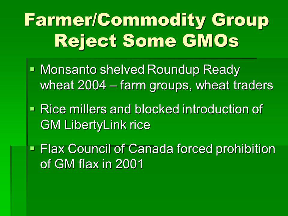 Farmer/Commodity Group Reject Some GMOs Monsanto shelved Roundup Ready wheat 2004 – farm groups, wheat traders Monsanto shelved Roundup Ready wheat 2004 – farm groups, wheat traders Rice millers and blocked introduction of GM LibertyLink rice Rice millers and blocked introduction of GM LibertyLink rice Flax Council of Canada forced prohibition of GM flax in 2001 Flax Council of Canada forced prohibition of GM flax in 2001
