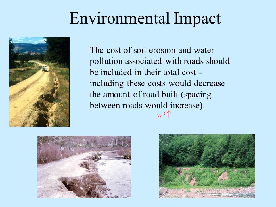 Environmental Impact The cost of soil erosion and water pollution associated with roads should be included in their total cost - including these costs would decrease the amount of road built (spacing between roads would increase).