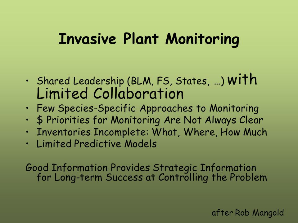 Invasive Plant Monitoring Shared Leadership (BLM, FS, States, …) with Limited Collaboration Few Species-Specific Approaches to Monitoring $ Priorities for Monitoring Are Not Always Clear Inventories Incomplete: What, Where, How Much Limited Predictive Models Good Information Provides Strategic Information for Long-term Success at Controlling the Problem after Rob Mangold
