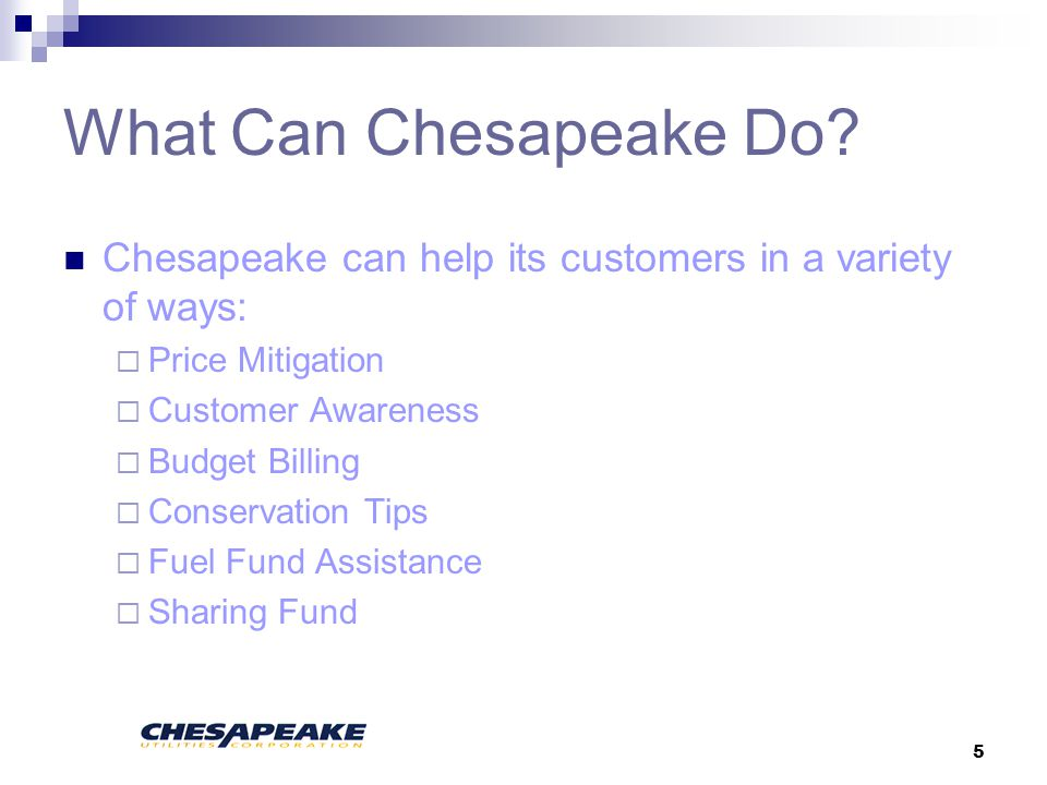 5 What Can Chesapeake Do.