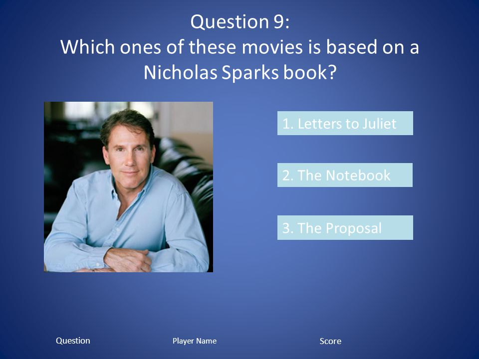 Question 9: Which ones of these movies is based on a Nicholas Sparks book.