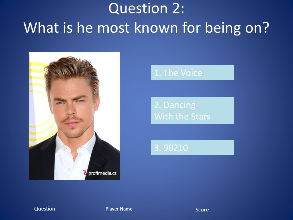 Question 2: What is he most known for being on. 1.