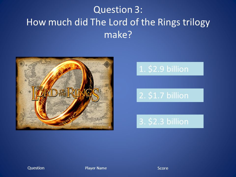 Question 3: How much did The Lord of the Rings trilogy make.