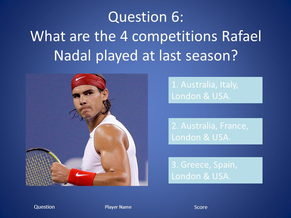 Question 6: What are the 4 competitions Rafael Nadal played at last season.
