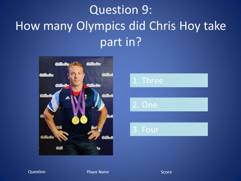 Question 9: How many Olympics did Chris Hoy take part in.