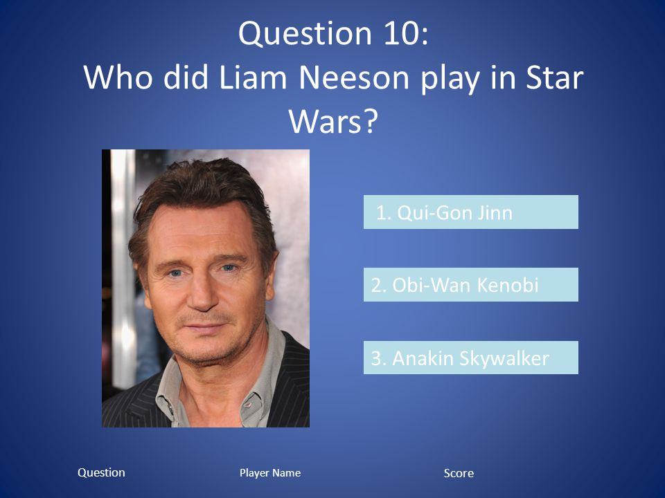 Question 10: Who did Liam Neeson play in Star Wars.