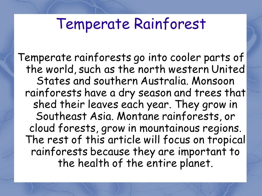 Temperate Rainforest Temperate rainforests go into cooler parts of the world, such as the north western United States and southern Australia.