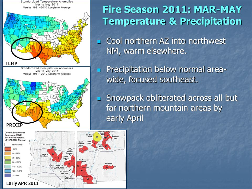 Fire Season 2011: MAR-MAY Temperature & Precipitation Early APR 2011 Cool northern AZ into northwest NM, warm elsewhere.