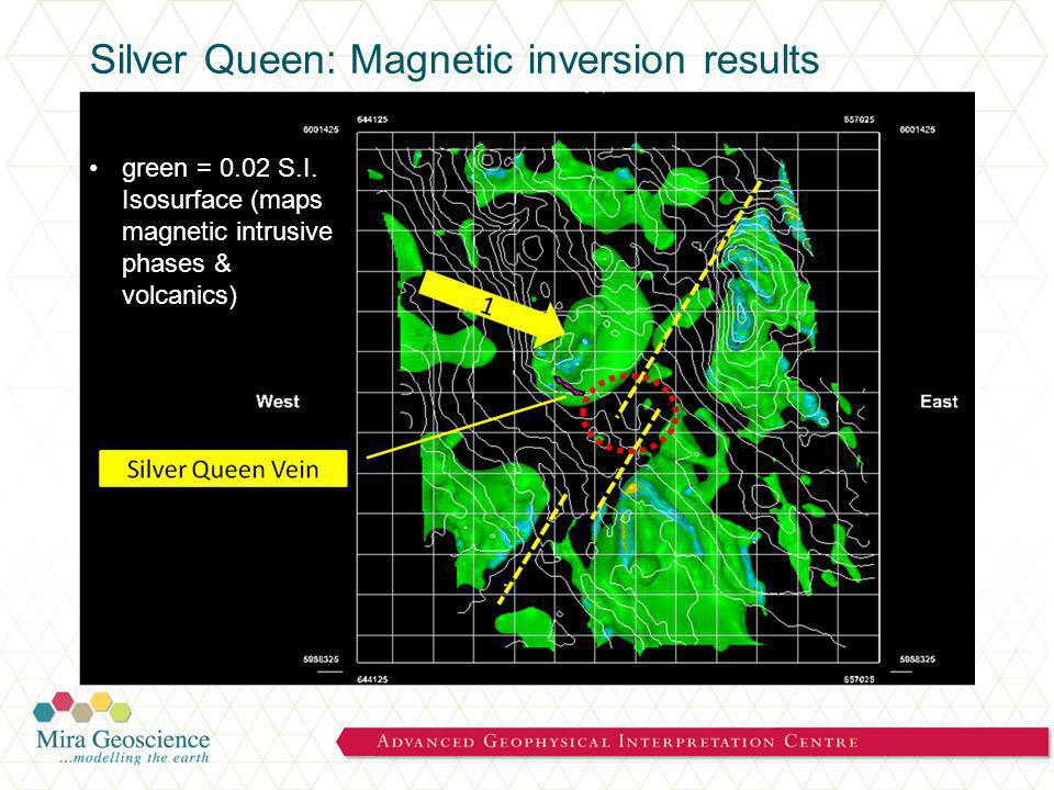 Silver Queen: Magnetic inversion results green = 0.02 S.I.