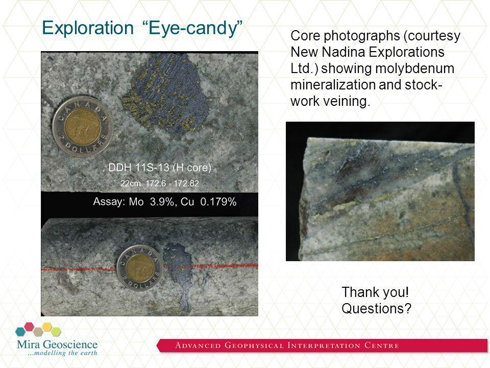 Exploration Eye-candy Core photographs (courtesy New Nadina Explorations Ltd.) showing molybdenum mineralization and stock- work veining.