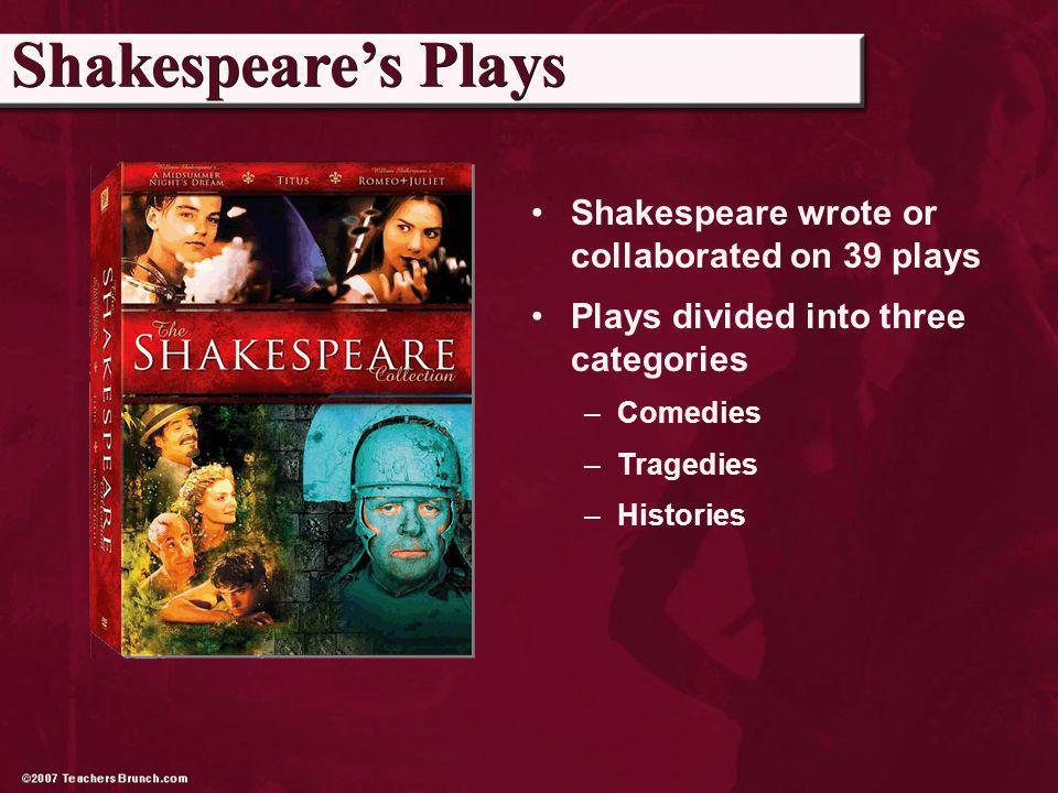 Shakespeare wrote or collaborated on 39 plays Plays divided into three categories –Comedies –Tragedies –Histories Shakespeares Plays