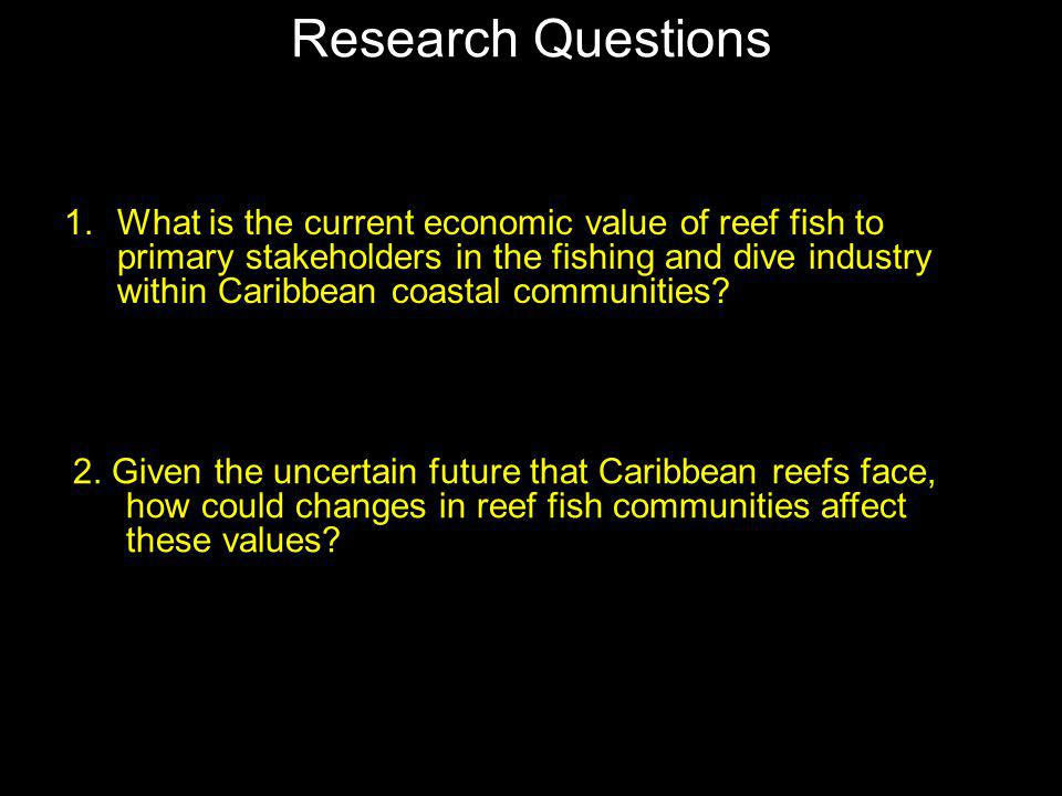 Research Questions 1.What is the current economic value of reef fish to primary stakeholders in the fishing and dive industry within Caribbean coastal communities.