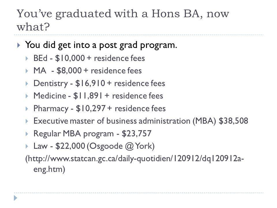 Youve graduated with a Hons BA, now what. You did get into a post grad program.