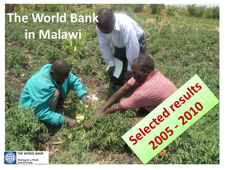 Selected Results:2005 - 2010 The World Bank in Malawi Selected results 2005 - 2010 Selected results 2005 - 2010