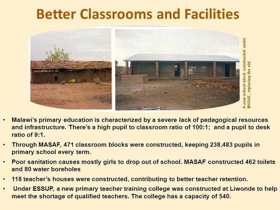 Better Classrooms and Facilities A new school block constructed under MASAF, replacing the old.