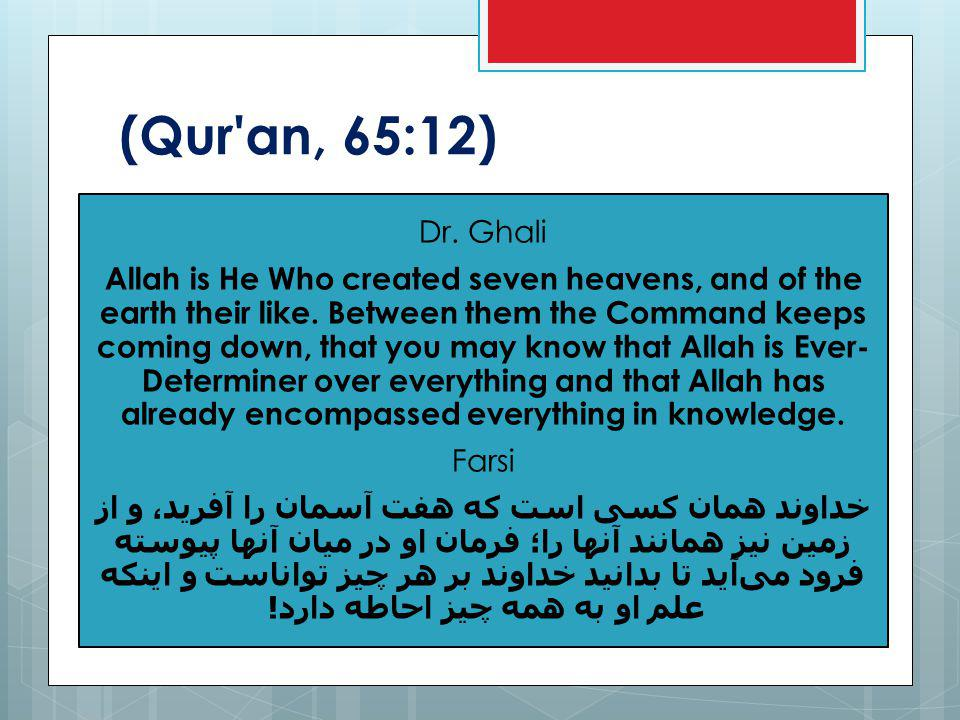 (Qur an, 65:12) Dr. Ghali Allah is He Who created seven heavens, and of the earth their like.